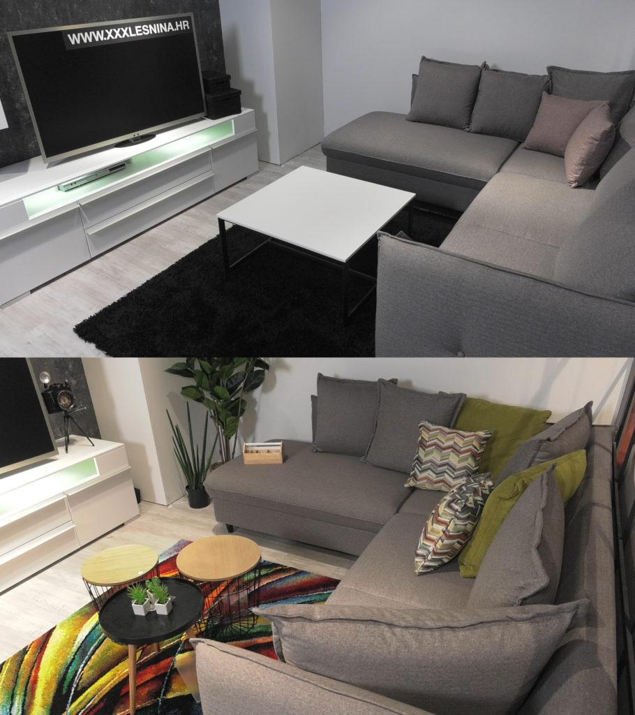 dnevni-boravak-crno-bijelo-minimalizam-sareni-tepih-lesnina-prijeposlje-domnakvadrat