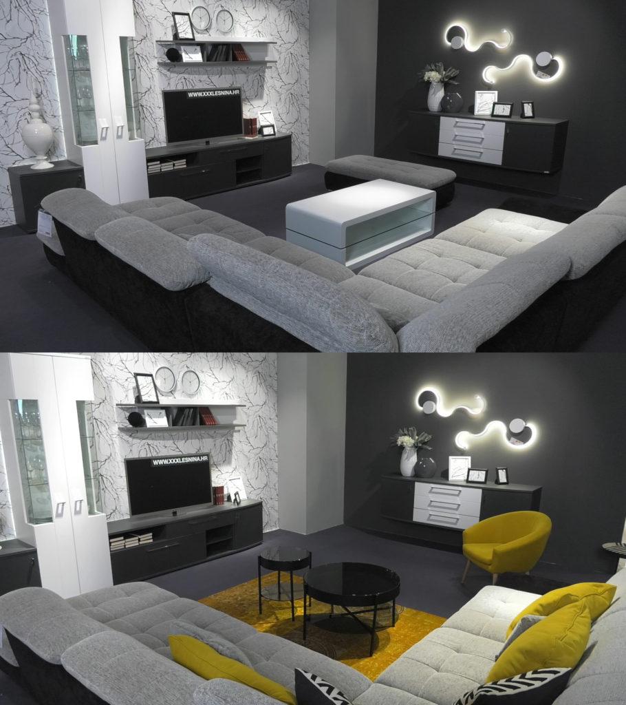 dnevni-boravak-crno-bijelo-minimalizam-zuta-fotelja-tepih-lesnina-prijeposlje-domnakvadrat