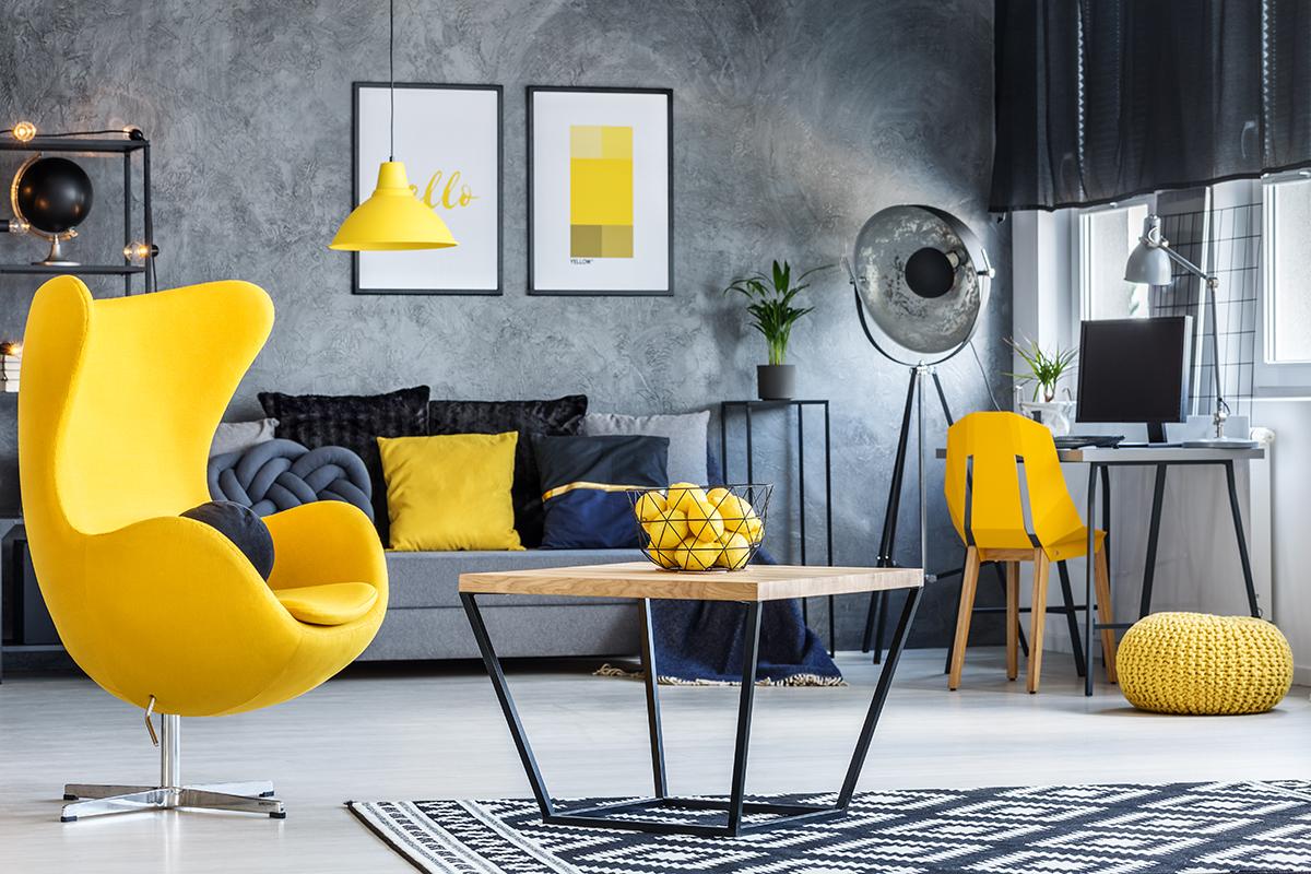 dnevni-boravak-industrijski-stil-žuta-boja-domnakvadrat